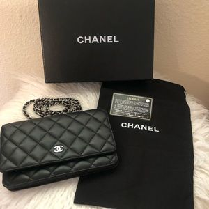 Authentic Black CHANEL Wallet on Chain WOC